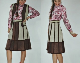 SHIPPING DELAY 1970s Suede Leather Crochet Panel High Waist Skirt and Vest Set