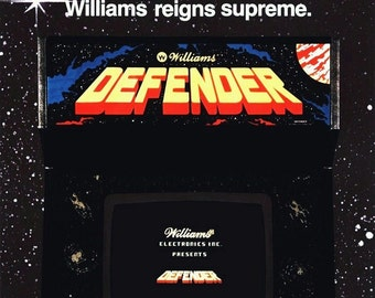 "Williams ""DEFENDER"" Video Arcade Game Stand-Up Display -  Gift Idea Collectibles Collection Collector Memorabilia Retro Video Game Posters"