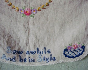 """Vintage LINEN Table RUNNER, SEWING Machine Cover: Hand Embroidered Tablecloth Centerpiece- """"Sew Awhile and Be In Style"""