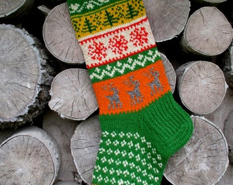 New 2017! Christmas stocking Personalized Hand knit Wool Green Yellow Orange Red White with Snowflakes Trees deers Christmas gift Decoration