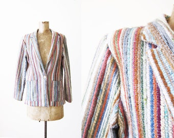 70s Jacket / Striped Jacket / Bohemian Jacket / Multicolor Stripe Blazer / Tapestry Jacket / Woven Jacket / Boho Clothing