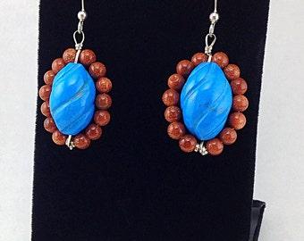 Turquoise Sterling Silver Dangle Earrings Goldstone Beaded Earrings Boho wire wrapped Blue Statement Earrings