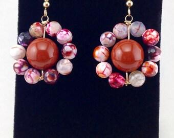 Red Dangle earrings,gold circle drop earrings,large earrings,beaded earrings,wrapped stones,wire wrapped jewelry,red jasper earrings,unique