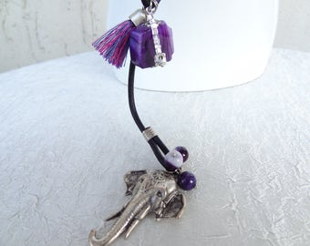 Long Necklace,Purple Necklace,Elephant Necklace,Black Leather Necklace,Purple Jade Necklace,Women Fashion,Best Friend, Birthday,Valentine's