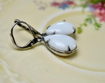 White Teardrop Earrings, White Glass Drop Earrings, Estate Style Jewelry, Leverback Earrings, Womens Gift for Her, Vintage Style Earrings UK
