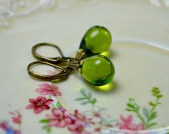 Olive Earrings, Green Drop Earrings, Tear Drop Earrings, Green Jewelry, Olive Green Earrings, Wife Gift Ideas, For Her, Green Gifts Women