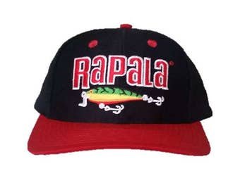 Vintage Rapala snapback snap back style - Fishermans Pride - Black and Red with Lure - 90s RARE