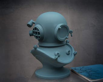 Diver's helmet Berlin Blue edition// Steampunk bust // Sculpture / Loft style statue //Man cave perfect // FREE SHIPPING WORLDWIDE