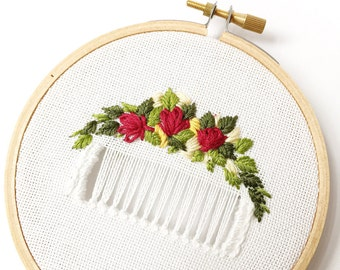 Rose and Flower Arrangement Embroidery, Wedding Gift, Shabby Chic Wall Decor