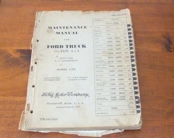"""Original 1942 Ford 1 1/2 Ton 4x4 GTB Military Truck Maintenance Manual TM-10-1435, WWII """"Burma Jeep"""""""