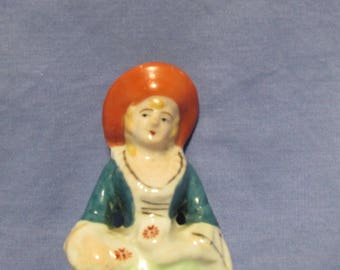 Vintage red hat collonial lady Japanese figurine