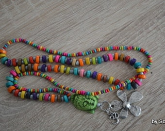 Colorful Pearl Necklace with Buddha and flower