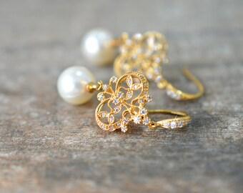 Formal gold filigree earrings Swarovski pearl drop earrings Edwardian Victorian pearl dangle Chandelier bridal wedding jewelry