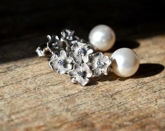 Sophisticated silver flower earrings Pearl drop earrings Dangle pearl earrings Special occasion Elegant wedding bridal jewelry for bride