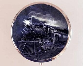 Train Locomotive Pill Box Case Pillbox Holder Trinket Railroad Americana Pop Art