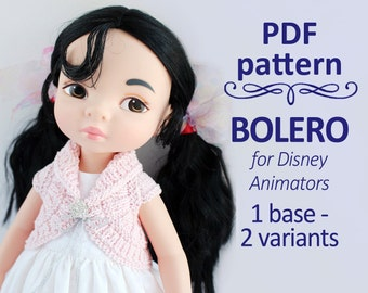 Knitting pattern Bolero shrug for Disney Animators and 16 inches dolls