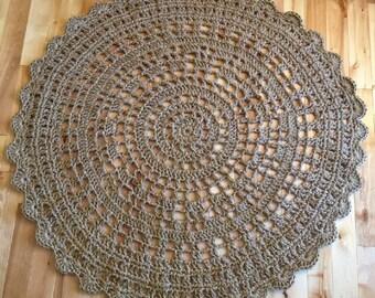 Giant crochet doily rug, Giant jute rug, jumbo jute rug, 48 inches (4 feet) jute rug, mandala rug, crochet round rug--MADE TO ORDER