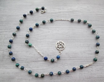 Wiccan Prayer Beads, Pagan Prayer Beads, Azurite Witches Ladder, Pagan Rosary beads, Azurite gemstones, Gaia Witch Ladder, Earth Goddess