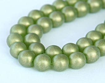 Suede Gold Olivine Czech Glass Beads, 8mm Round- 25 pcs - eMSG5023-8r