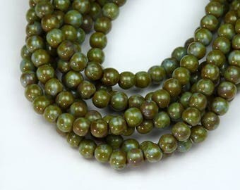 Opaque Blue Green Picasso Czech Glass Beads, 4mm Round - 100 pcs - eT33010-04