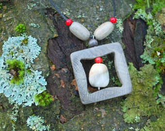 White Hornbeam Wood Square Pendant, Nature Eco Friendly Boho Hippie Amulet, Wood Rustic Grey Gray Red Pendant, Square Wooden Pendant