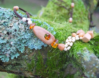 Plum Birch Amber Wooden Necklace Pendant, Wood Latern, Nature Eco Friendly Necklace, Rustic Woodland Long Necklace, Boho Hippie Wood Pendant