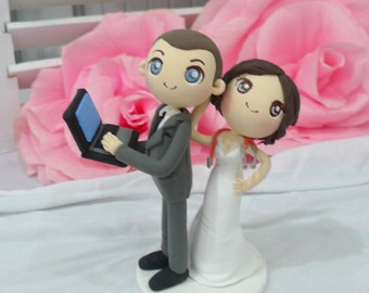 Wedding Cake topper Nurse bride and Laptop groom clay doll, bride in sleeveless wedding gown clay miniature, engagement clay figurine decor