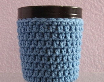 Ice Cream Cozy Pint Cover Crocheted Yogurt Coaster Sleeve - Medium Blue