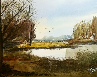 At the Pond - 11×15 watercolor painting - Winsor Newton on 140lb Strathmore paper