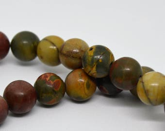 Earth Colors Picasso Jasper Stone Round Ball 8MM Beads - Qty 20