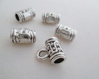 10 pcs-(10 x 6 mm) Carved,Alloy, Antique Silver Bails Beads Tubes. Free Shipping
