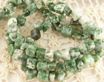 Natural Tree Agate, Forest Green Gemstone Beads, Chips Pebbles (20)