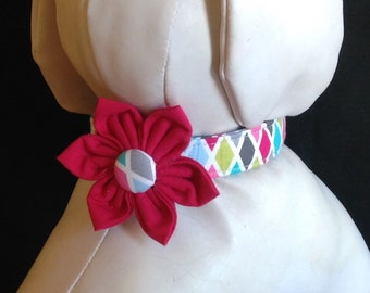 Dog Collar Flower Set - Pink Argyl - Size XS, S, M, L, XL