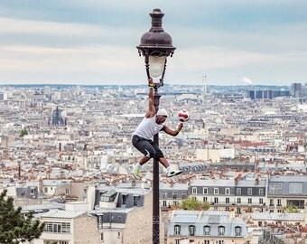 montmatre sacré-cœur basilica street performer acrobat paris france photograph print