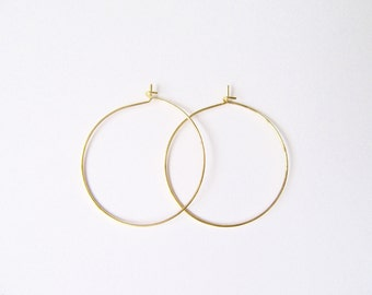 Delicate thin gold hoop earrings - modern minimalist earrings, simple gold hoops