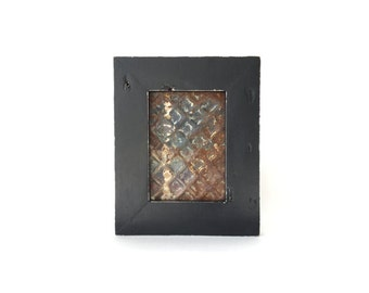 "Picture Frame 5"" x 7"" Handmade with Reclaimed Wood and 19th Century Ceiling Tin"