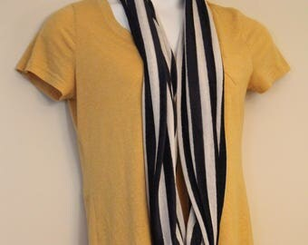 Navy Blue and Cream Striped Lightweight Jersey Knit Infinity Scarf - cute, all seasons, fall, spring