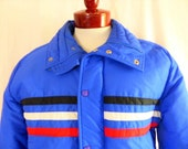 vintage 70's 80's White Stag Ski royal blue ski jacket puffy puffer nylon zip up jacket raglan sleeve red white black chest stripe Large