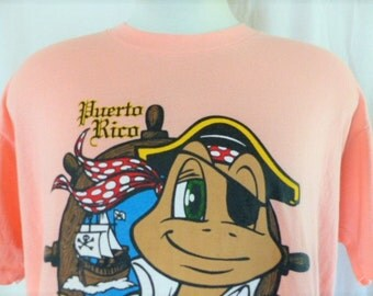vintage 80's 90's Treasure Island Isla del Tesoro Puerto Rico peach pink graphic t-shirt cute turtle pirate print tourist travel souvenir XL