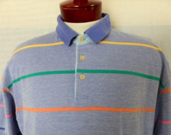 vintage 80's 90's Colours by Alexander Julian blue pique knit polo shirt pastel rainbow pink green yellow horizontal stripe colorblock Large