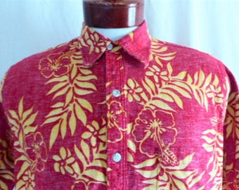 aloha vintage 80's Go Barefoot red hawaiian shirt tropical floral hibiscus plumeria reverse print popover collar short sleeve large medium