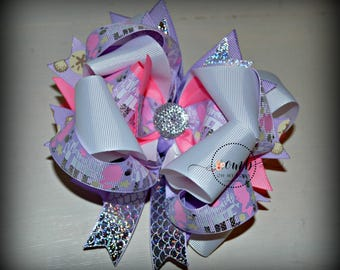 Mermaid Life Themed Boutique Style Bow / Mermaid Bow / Bows / Hairbow / Hair Bow / Mermaid Birthday / Pink Bow / Purple Bow / Under the Sea