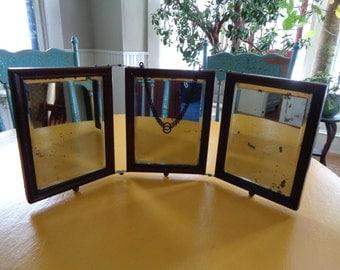 Vintage Tri Fold Mirror, Tri Fold Vanity Mirror, Shaving Mirror