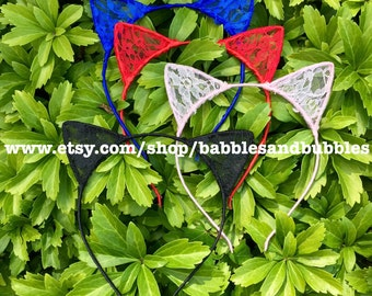 Colored Lace Cat Ears Headband - Cat Ears - Bridal Headband - Cat Costume - Halloween Headband - Cat Lover Gift - NEXT DAY SHIPPING