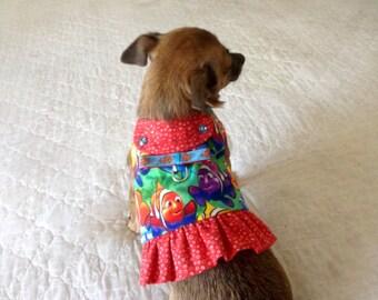 Dog Harness, Small Dog Harness, Fish Print Dog Harness, Small Dog Vest, Optiional Ruffle, Made to Order, Dog Clothes, Flannel Dog Dress