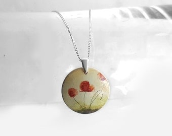 Red Poppy Pendant Necklace Poppies, Hand Painted  Necklace with Sterling Silver Chain,  Flower Painting on Wood