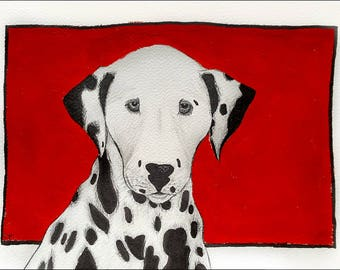 Original Drawing Dalmatian, Dog Painting Dog Art Drawing, Black and White, Red Background, Dalmatian Painting, A4, Original Art, Home Decor