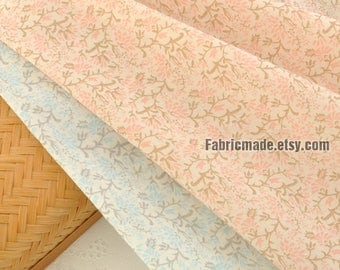Thin Flower Cotton Fabric, Vintage Flower On Nude Pink Light Blue Cotton For Clothing Curtain - 1/2 Yard