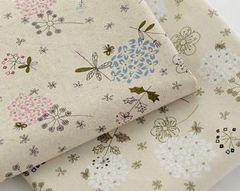 Sale- Fabric Beige Linen Cotton Fabric with Dandelion Flower Table Cloth Pillow Curtain Fabric- 1/2 yard