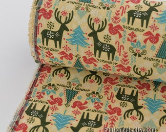 Cartoon Linen Fabric, Christmas Elk Trees Birds Linen Blend Linen Fabric - 1/2 yard
